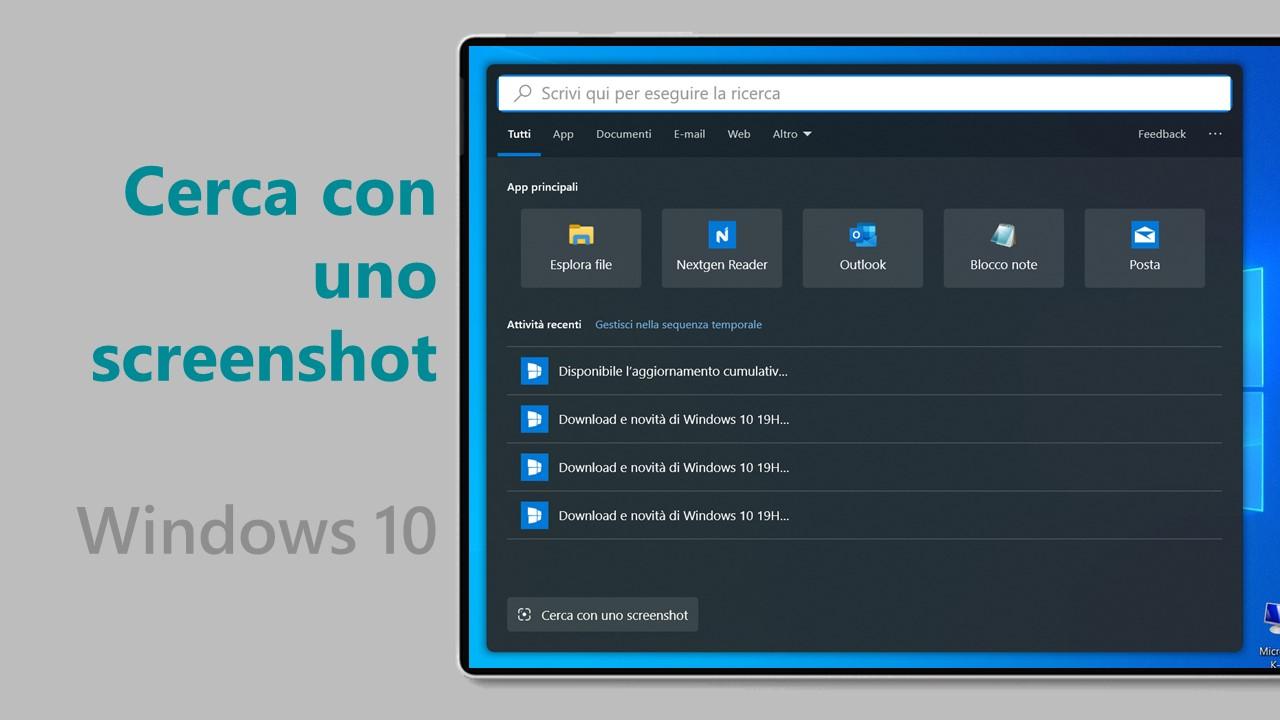 Come effettuare una ricerca con uno screenshot in Windows 10