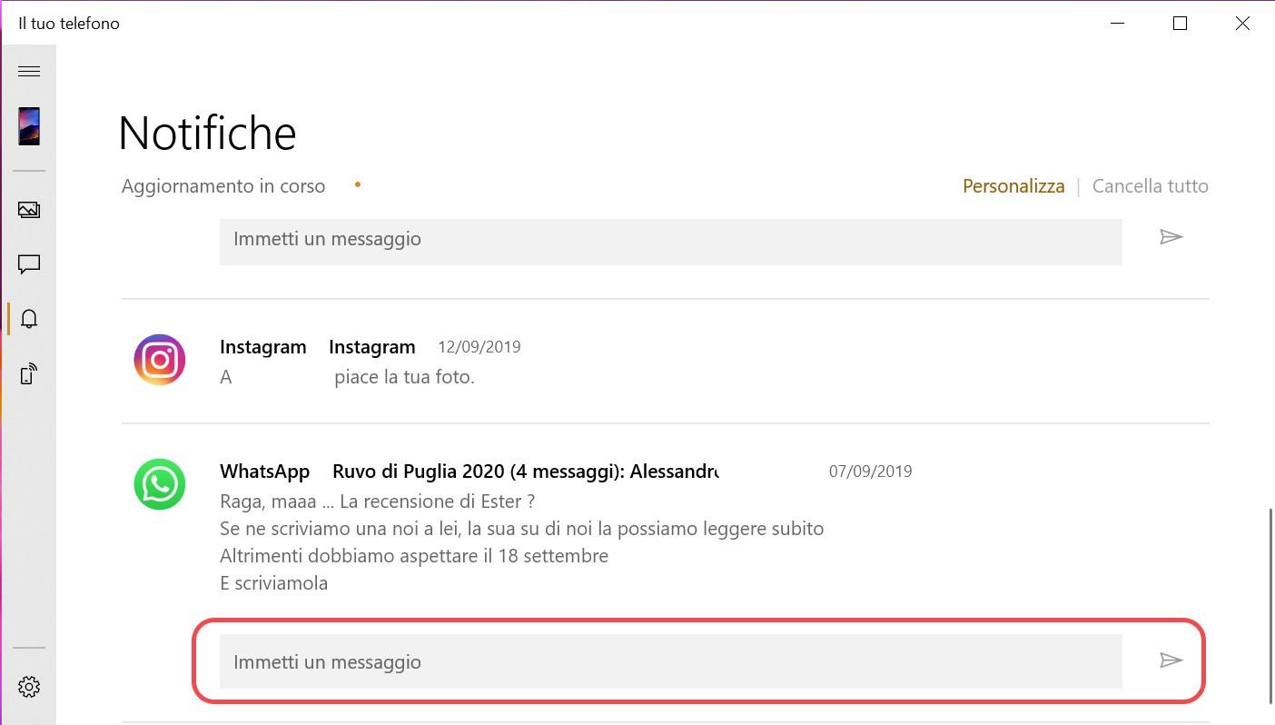 Il tuo telefono risposta inline alle notifiche dalla pagina dell'app