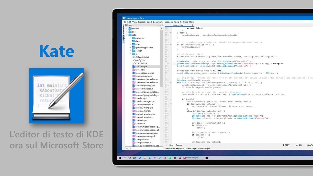 Kate editor di testo su Windows 10