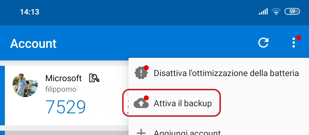 Microsoft Authenticator per Android backup