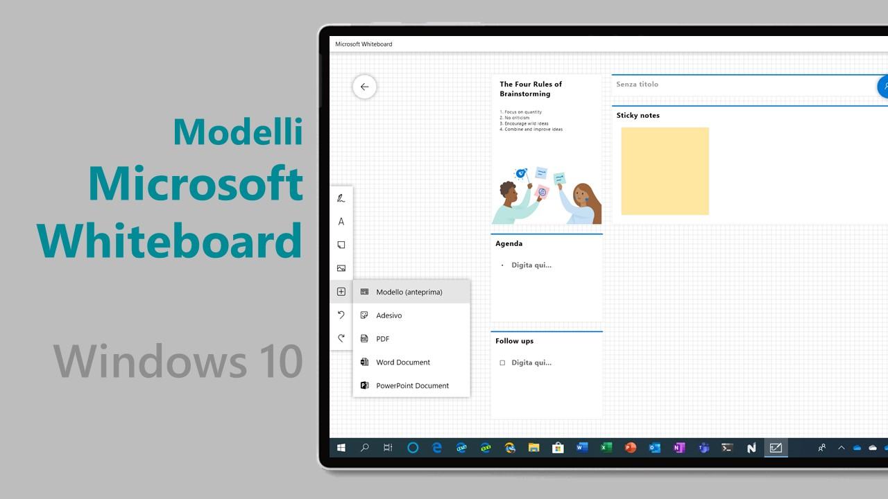 Ora potete utilizzare i modelli in Microsoft Whiteboard