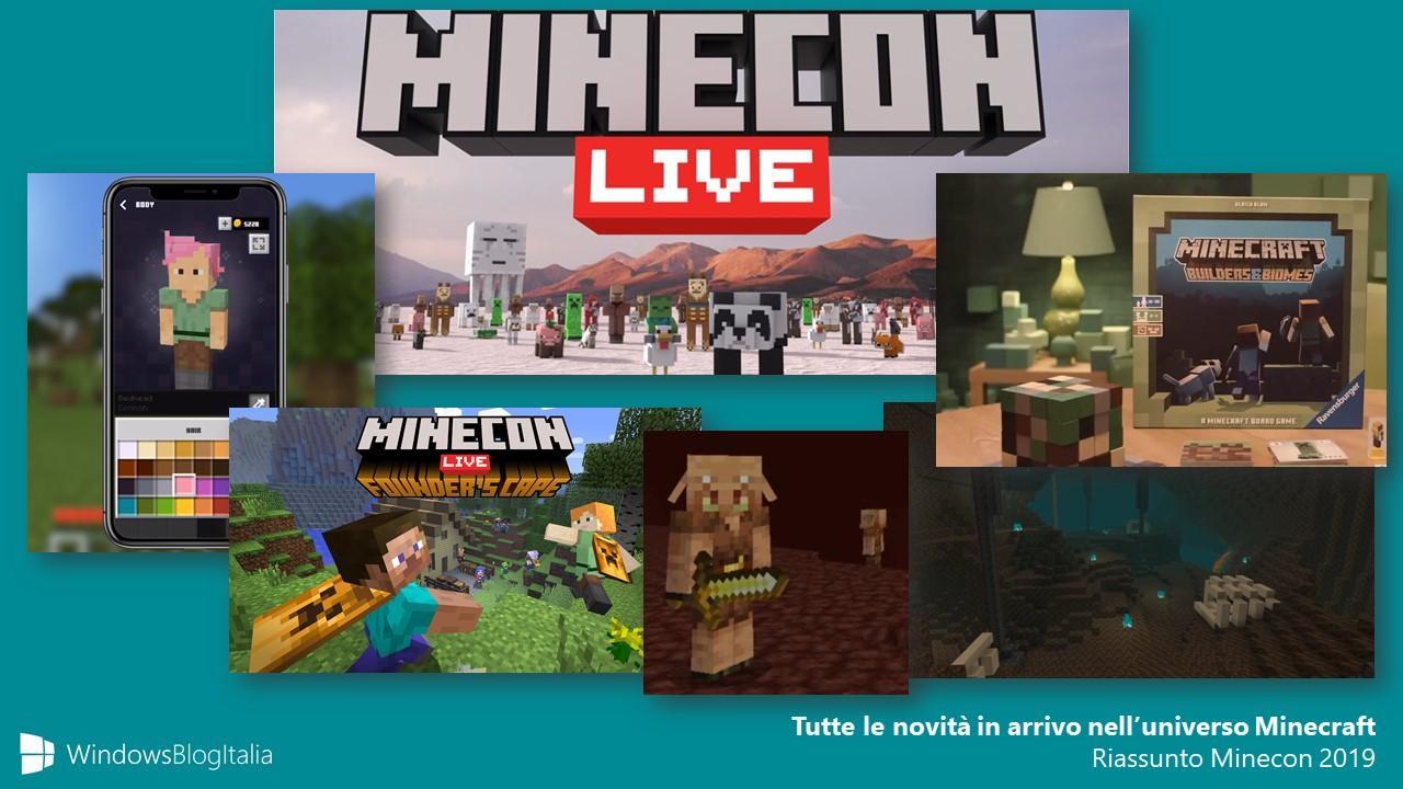 Minecraft riassunto novità Minecon 2019