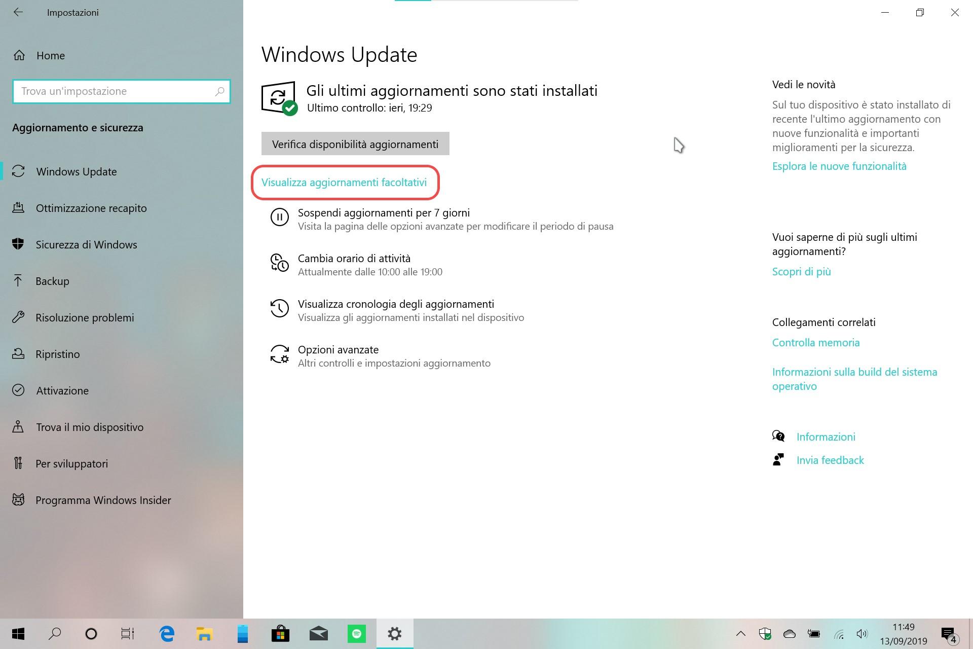 Windows 10 20H1 aggiornamenti facoltativi in Windows Update 1