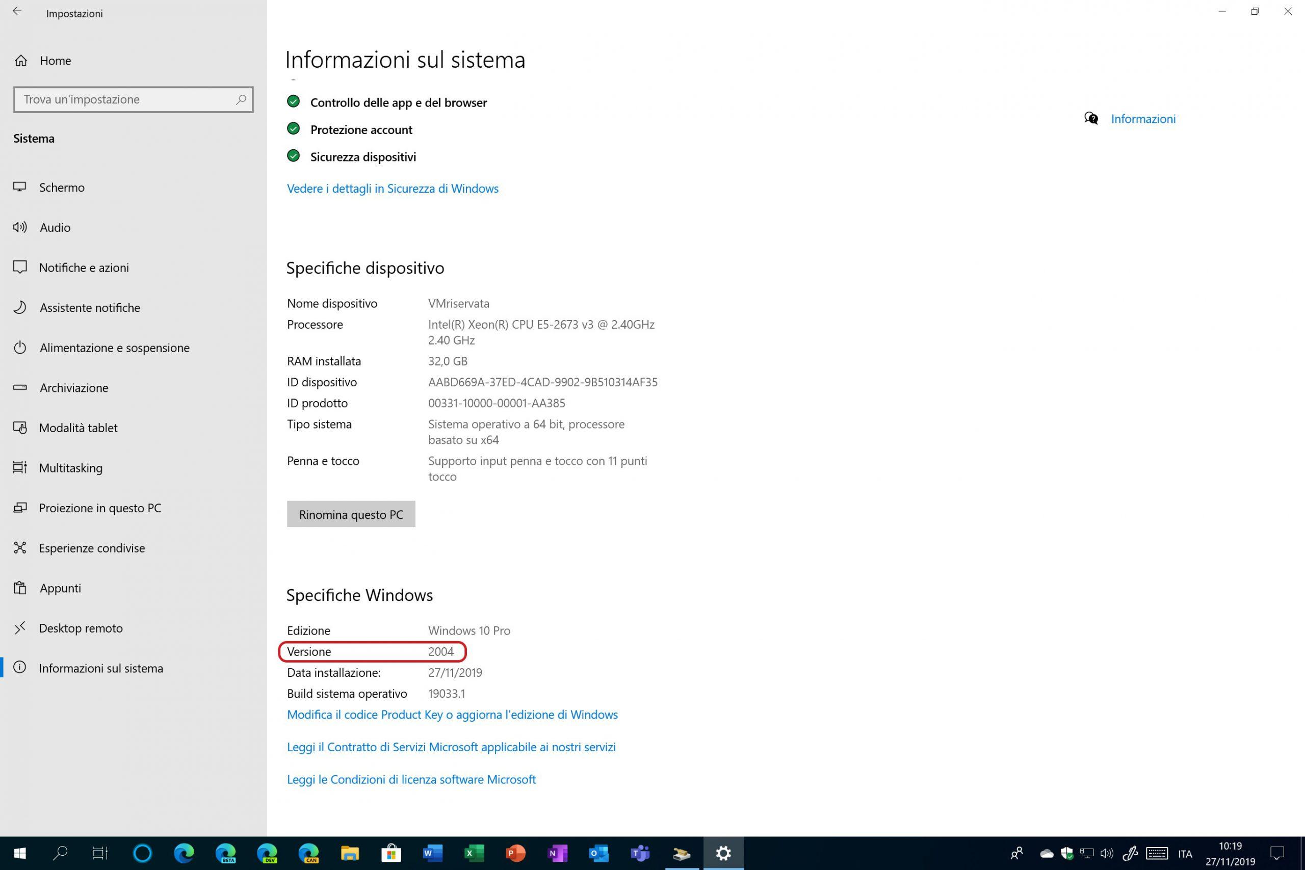 Windows 10 20H1 numero versione 2004