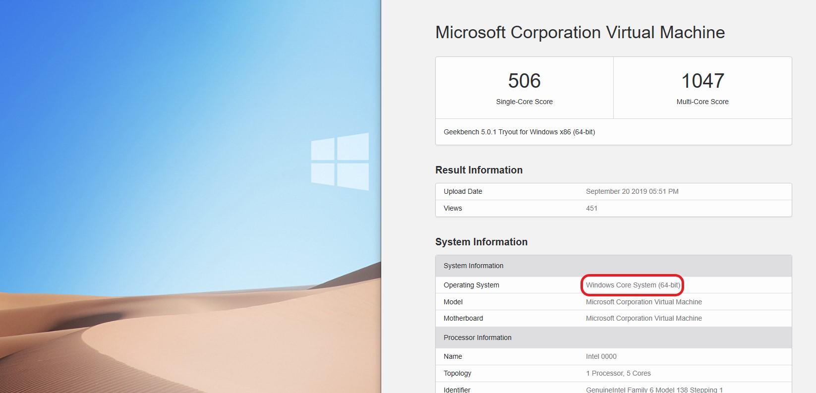 Windows Core OS Geekbench