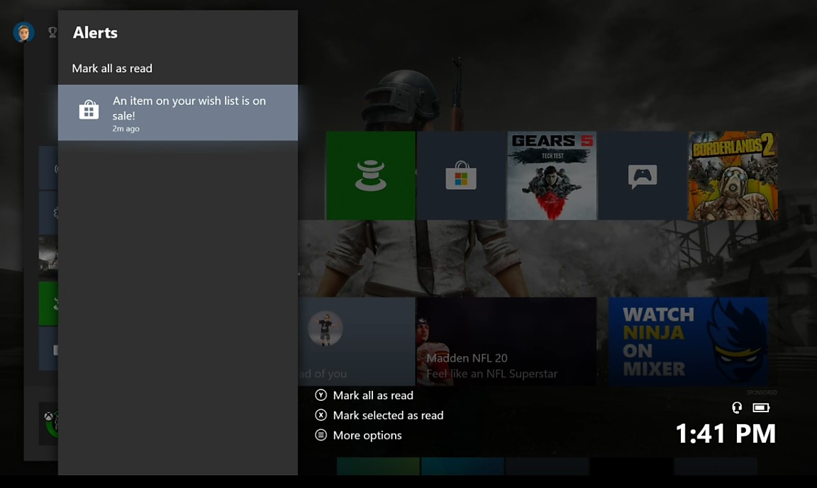 Xbox One 1910 notifiche per la wish list