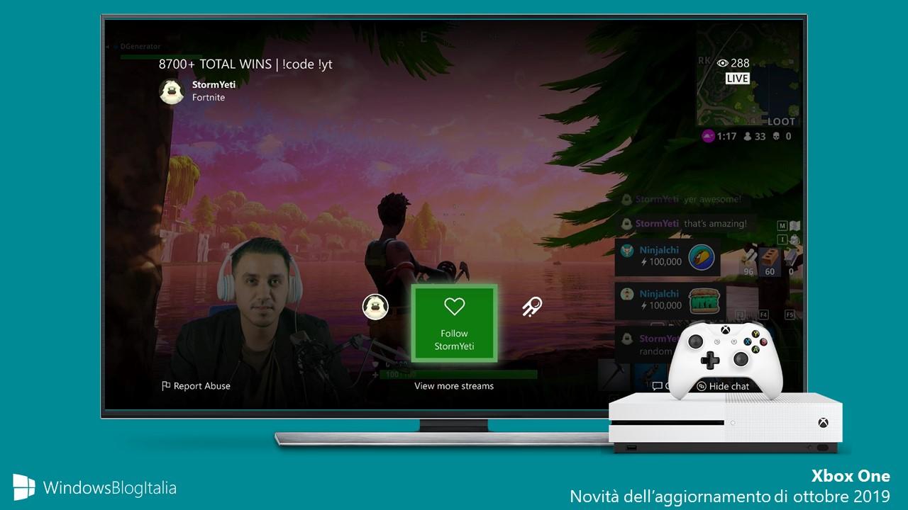 Xbox One 1910 nuove feature aggiornamento