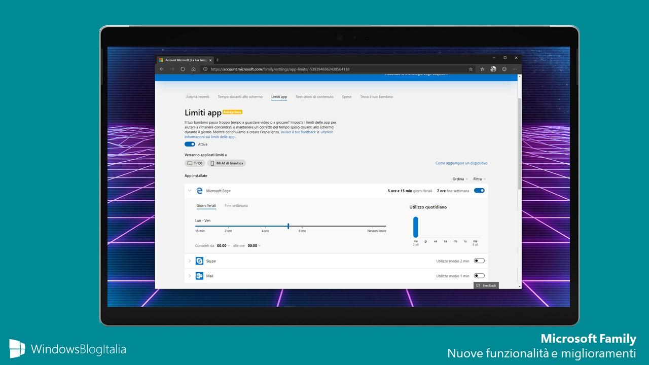 Impostazioni controllo famigliare migliorate Microsoft Family