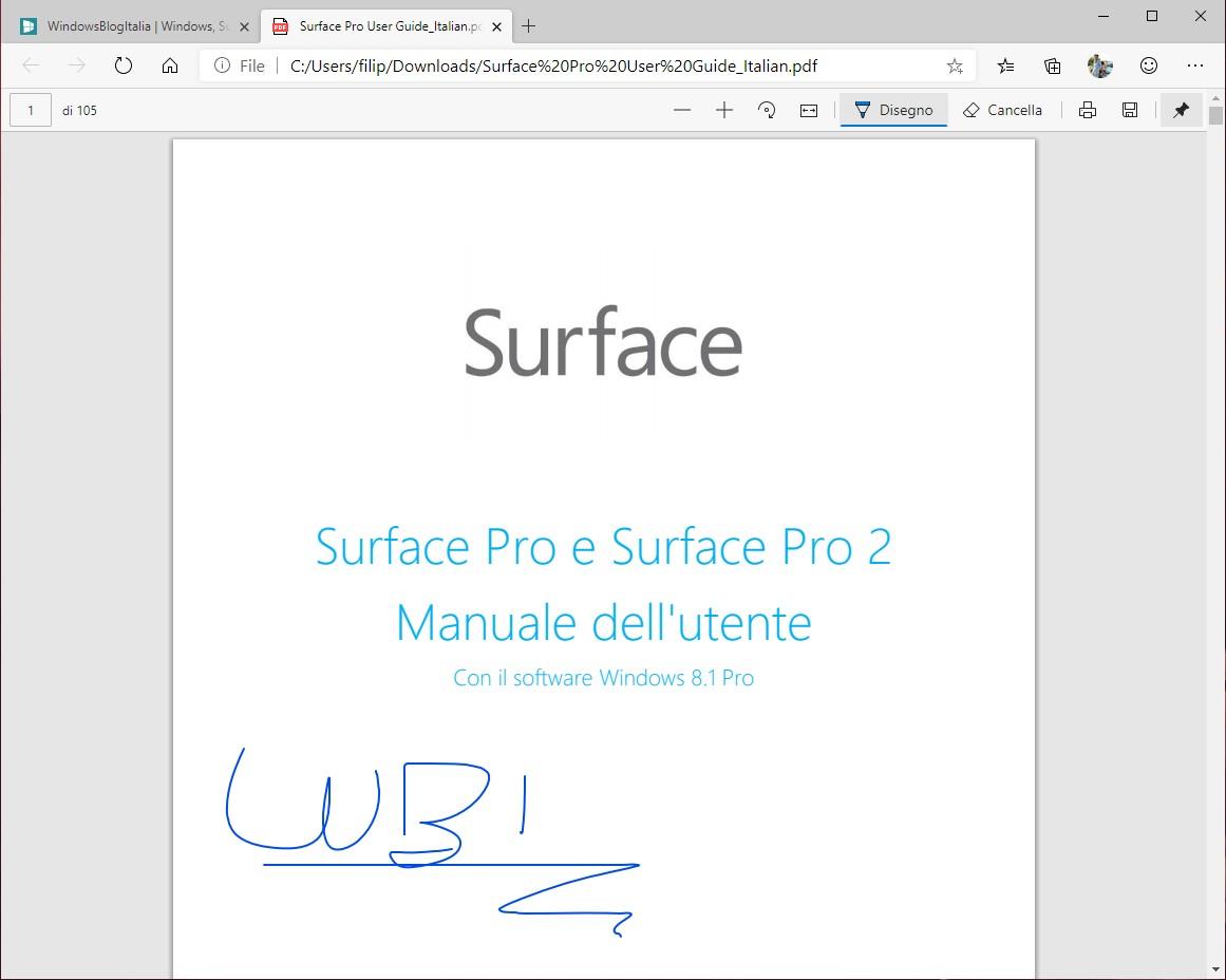 Microsoft Edge Dev annotazioni PDF