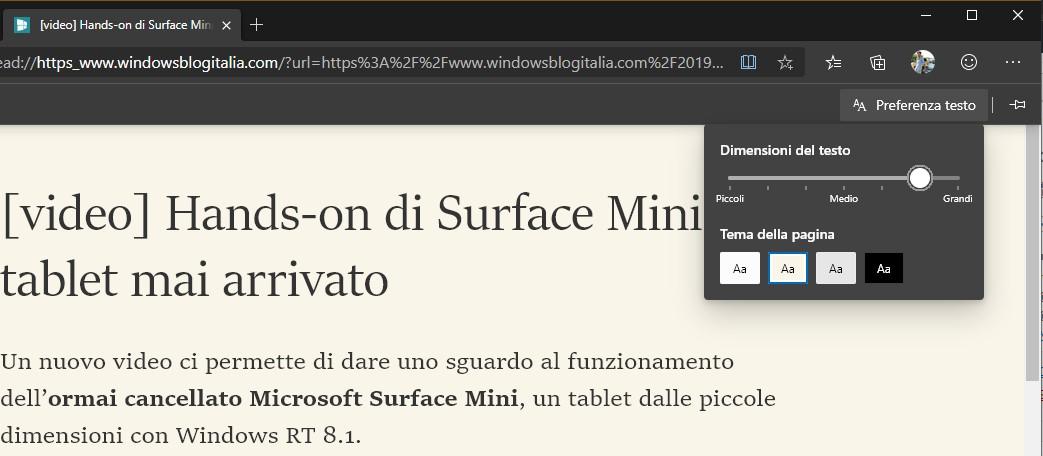 Microsoft Edge Dev per Windows 10 impostazione grandezza font in modalità lettura