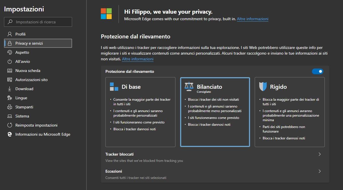 Microsoft Edge Dev per Windows 10 miglioramento protezione dal rilevamento