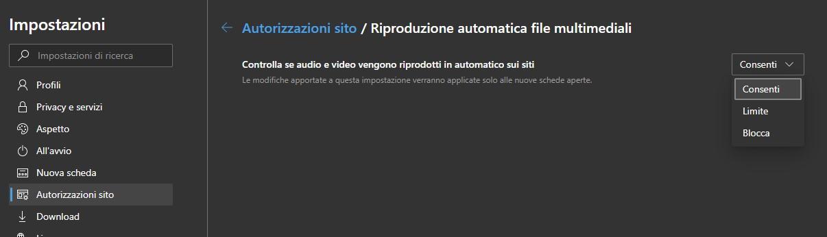 Microsoft Edge Dev per Windows 10 riproduzione automatica file multimediali