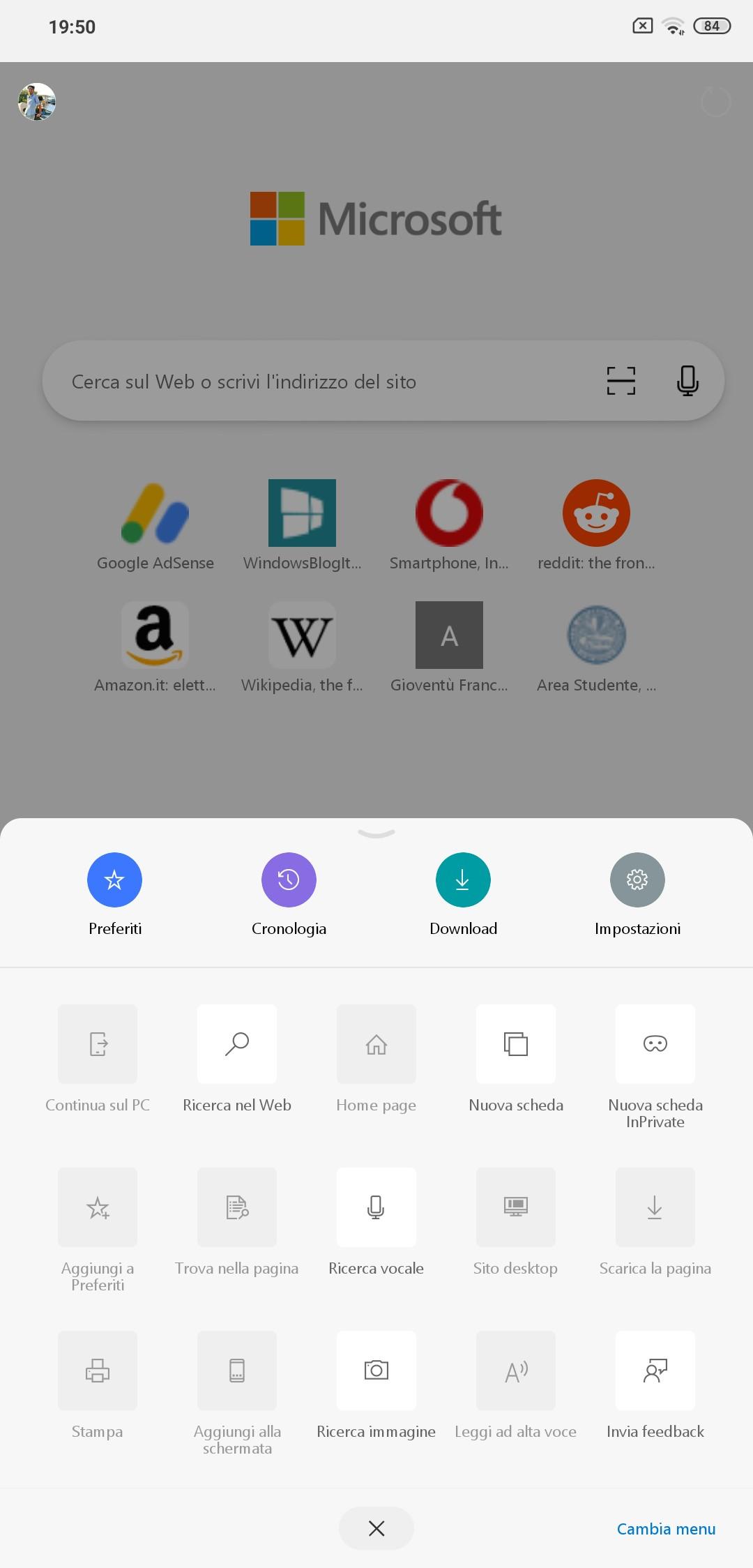 Microsoft Edge per Android nuova interfaccia grafica tema chiaro