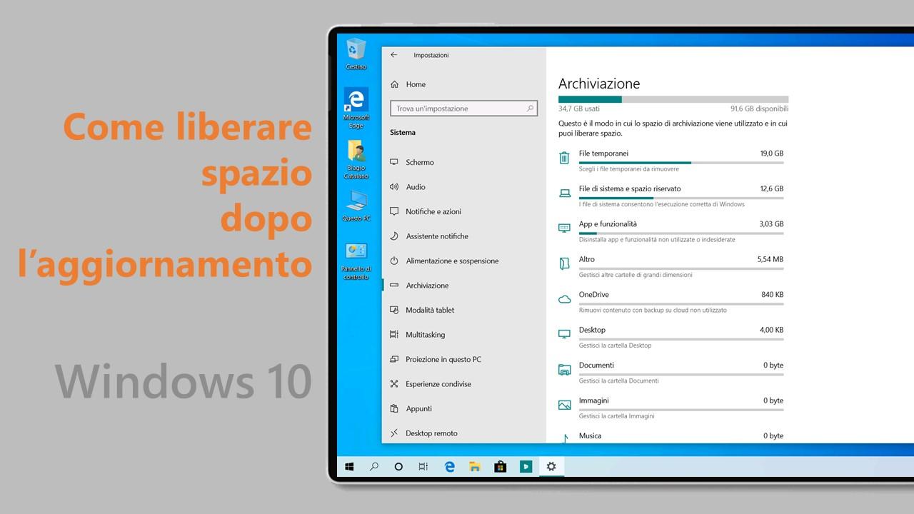 Windows 10 November 2019 Update - Liberare spazio
