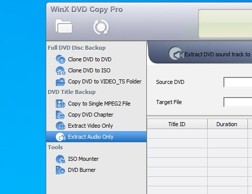 Opzioni esportazione WinX DVD Copy Pro per Windows
