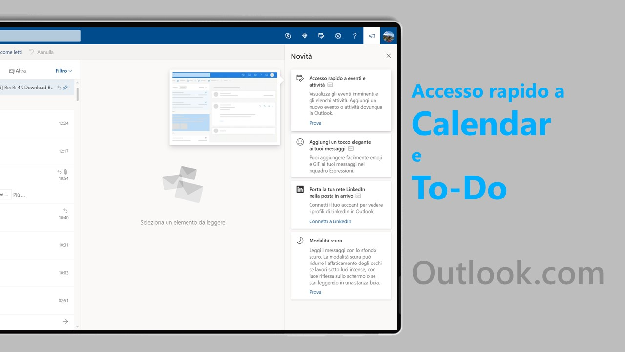 Outlook.com integra Calendario e Microsoft To-Do
