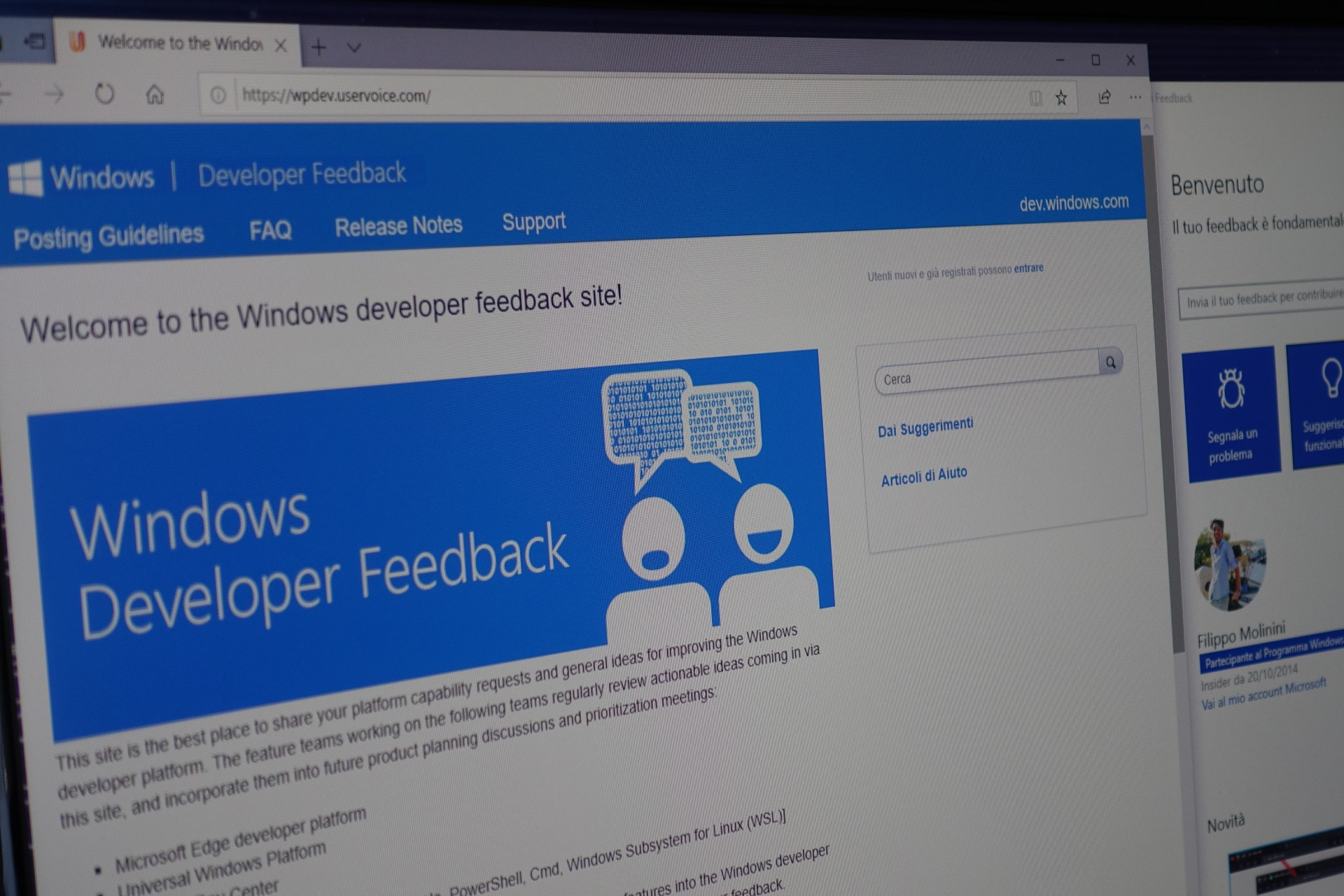Pagina Windows UserVoice sviluppatori - Hub di Feedback