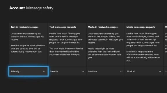 Sicurezza dei messaggi filtri Xbox Live