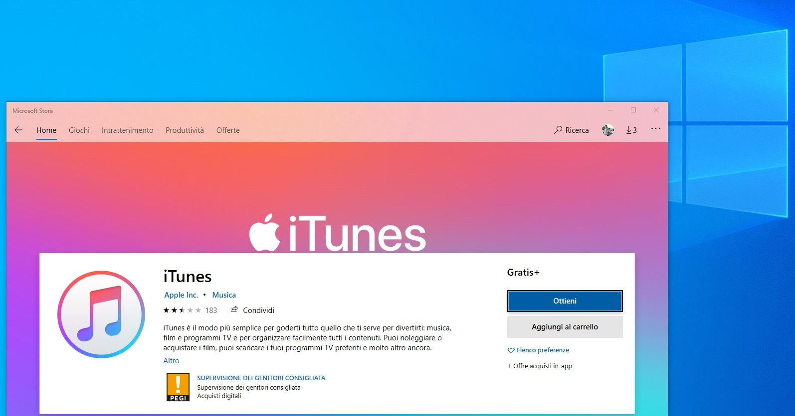 Applicazioni Apple su Windows iTunes