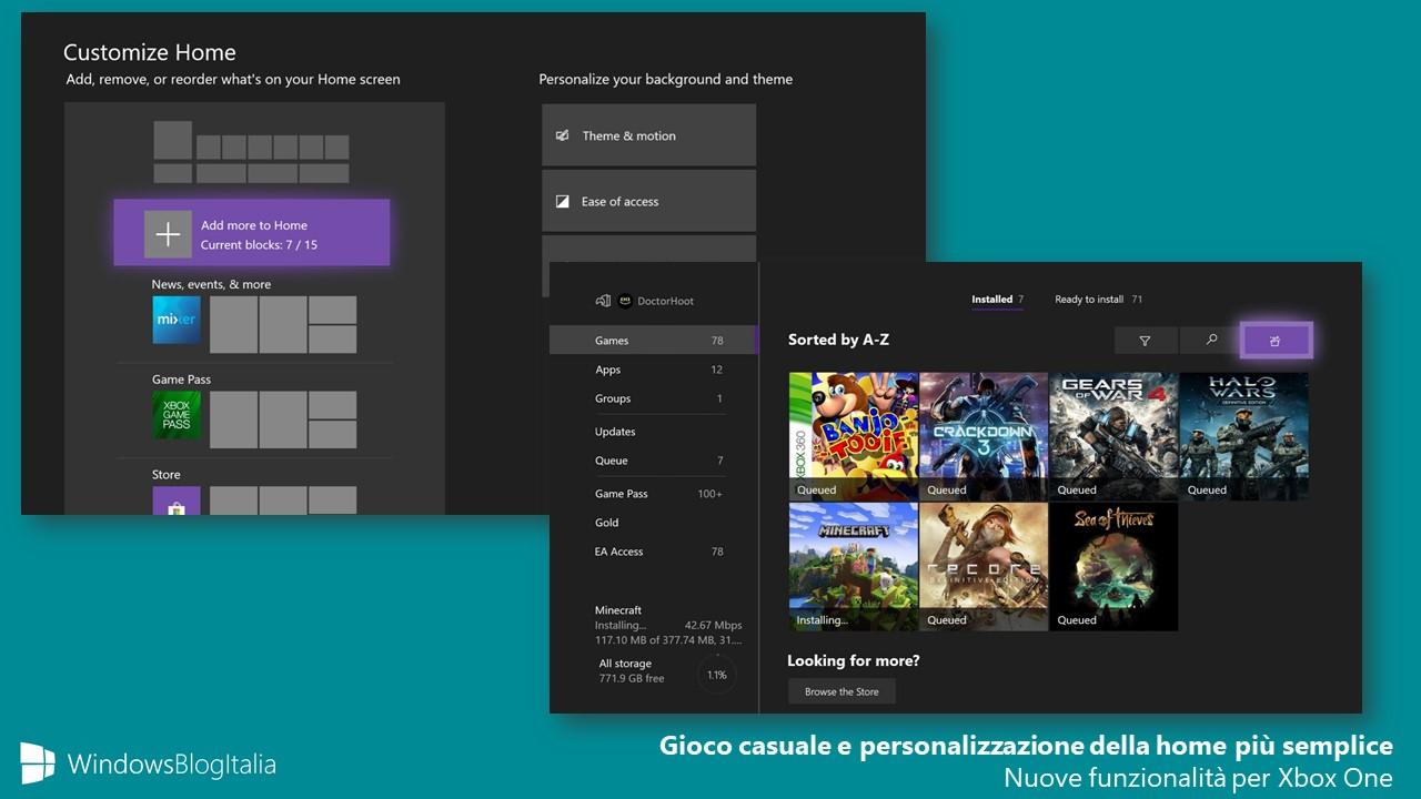 Gioco casuale e personalizzazione della home semplificata Xbox One