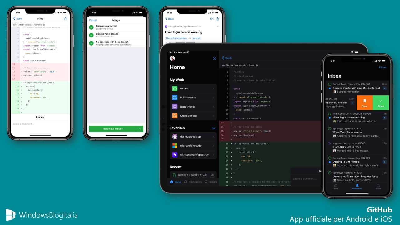 GitHub app ufficiale per Android e iOS