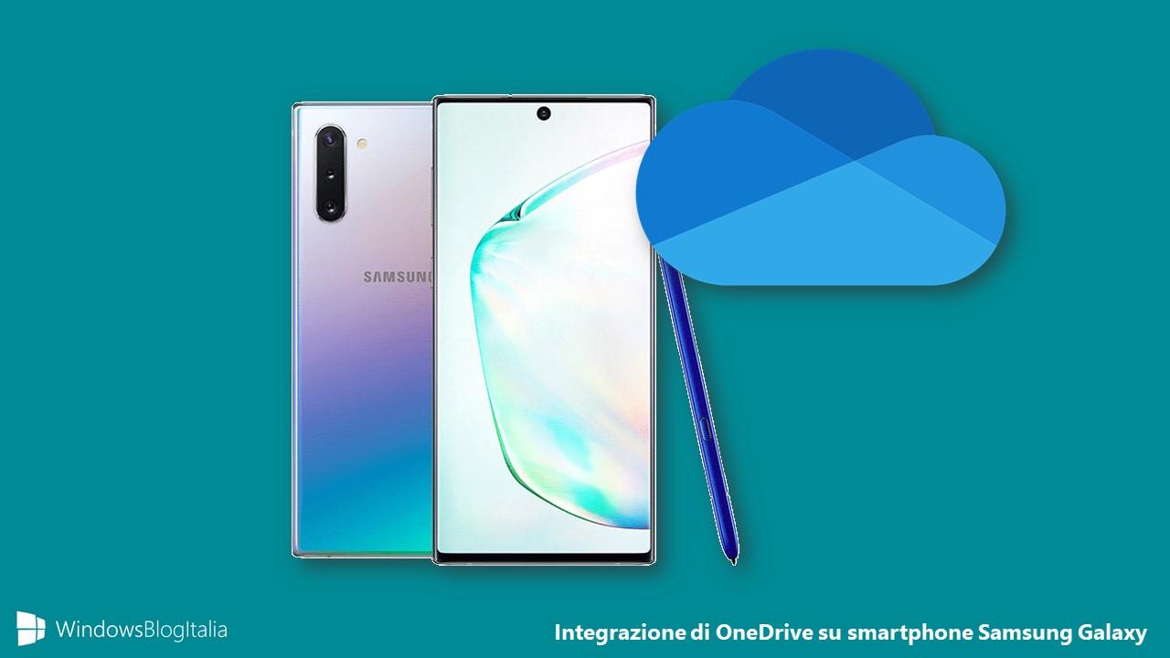 Integrazione di OneDrive su smartphone Samsung Galaxy