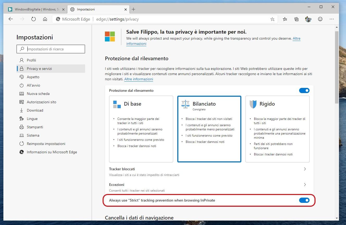 Microsoft Edge Dev miglioramento protezione dal tracciamento in schede InPrivate