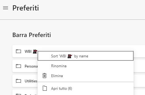 Microsoft Edge Dev ordinare cartelle di preferiti per nome