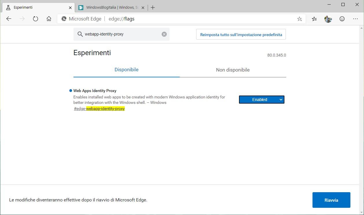 Microsoft Edge basato su Chromium flag miglioramento PWA