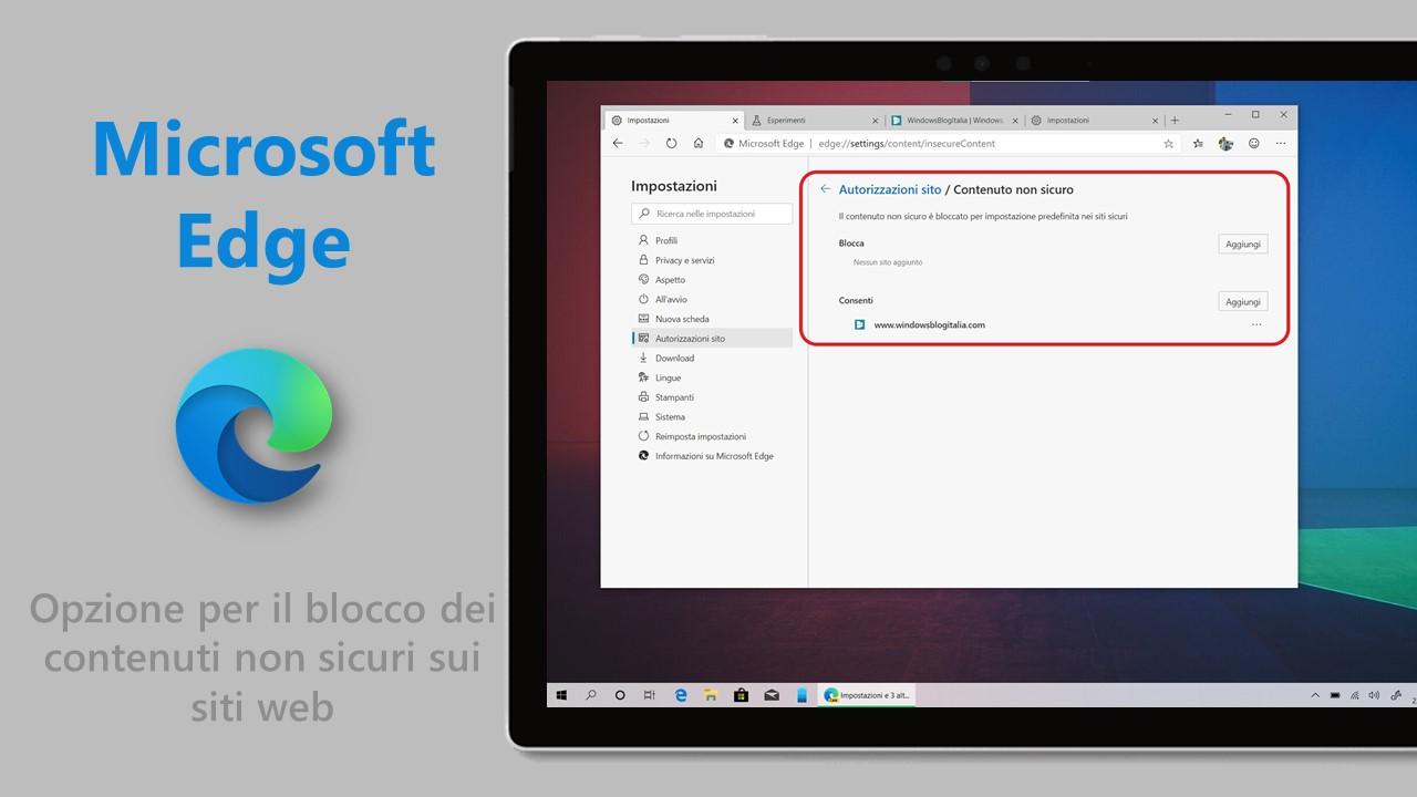 Microsoft Edge basato su Chromium opzione contenuti non sicuri siti web