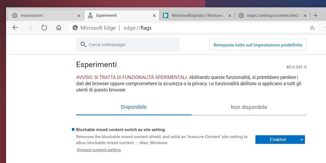 Microsoft Edge come abilitare opzione contenuto non sicuro