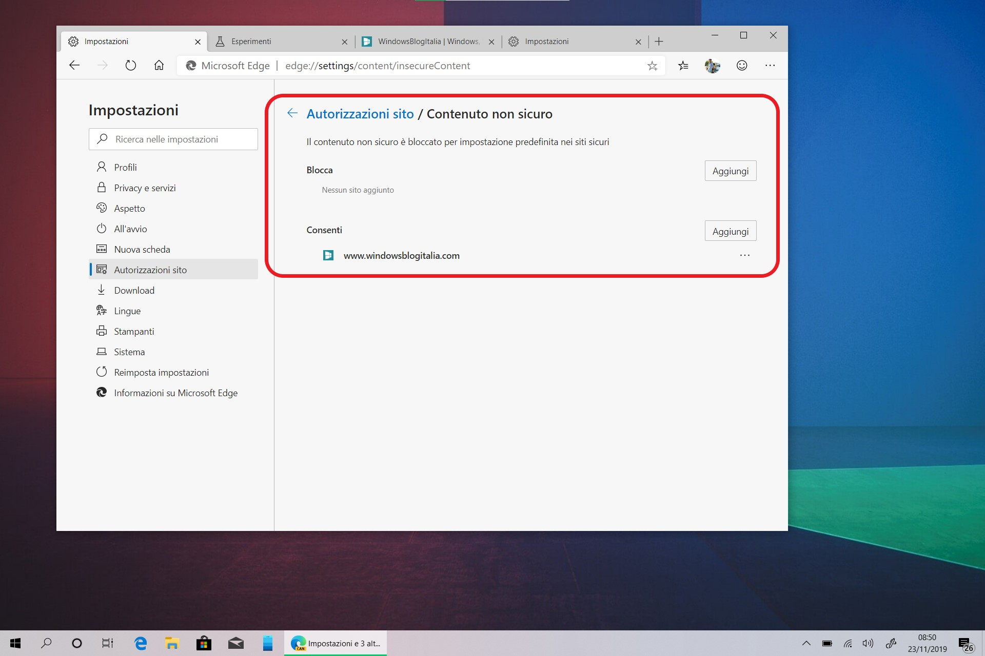 Microsoft Edge opzione contenuto non sicuro