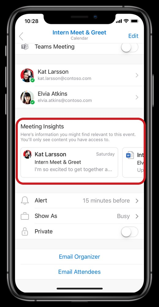 Microsoft Outlook Mobile feature meeting insights