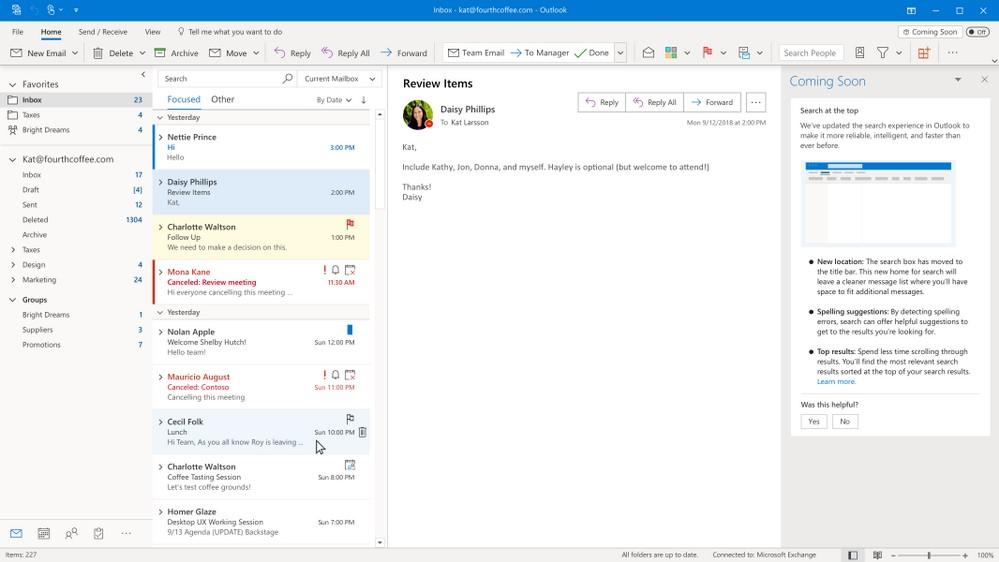 Microsoft Outlook per Windows miglioramenti ricerca 2020