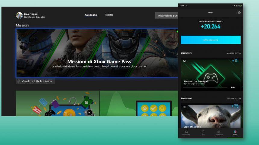Nuove Xbox Game Pass Quest per Microsoft Rewards