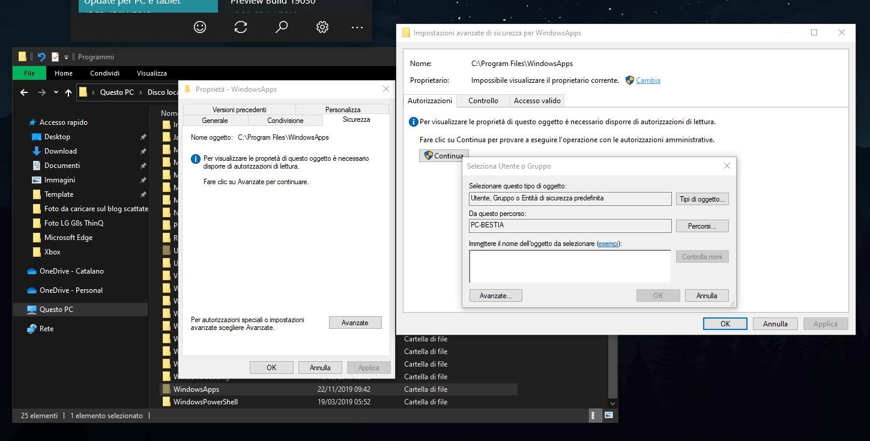 Opzioni da cambiare per accedere alla cartella WindowsApps