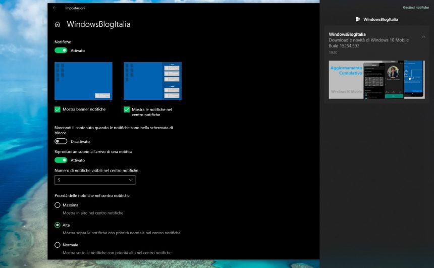 Pagina Impostazioni di gestione notifiche Windows 10 November 2019 Update