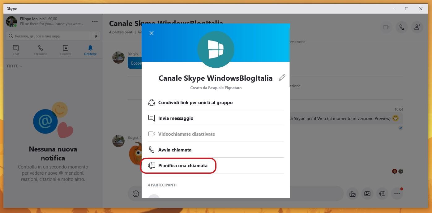 Skype per Windows 10 opzione pianifica chiamata per i gruppi