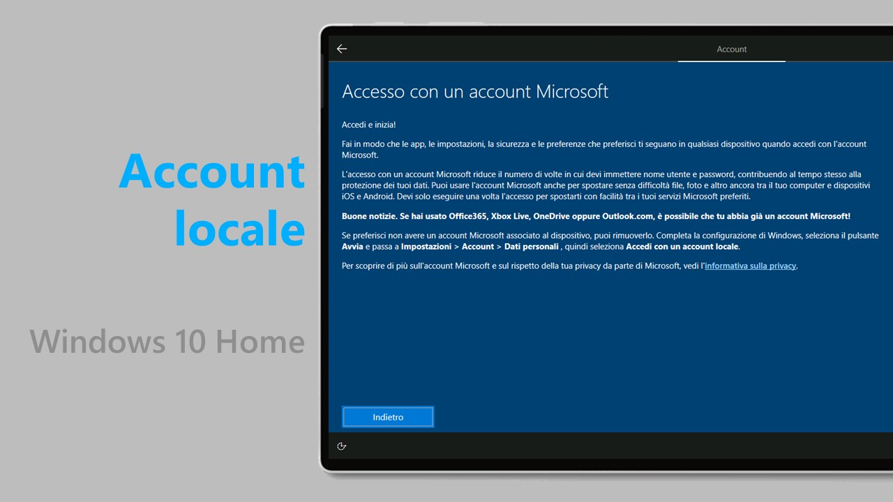 Account locali - Windows 10