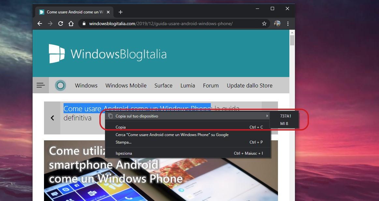 Google Chrome 79 copia su dispositivi sincronizzata