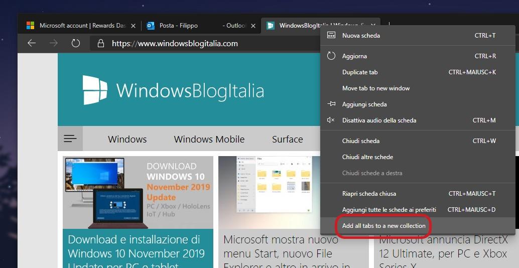 Microsoft Edge aggiungi tutte le schede a una nuova Raccolta