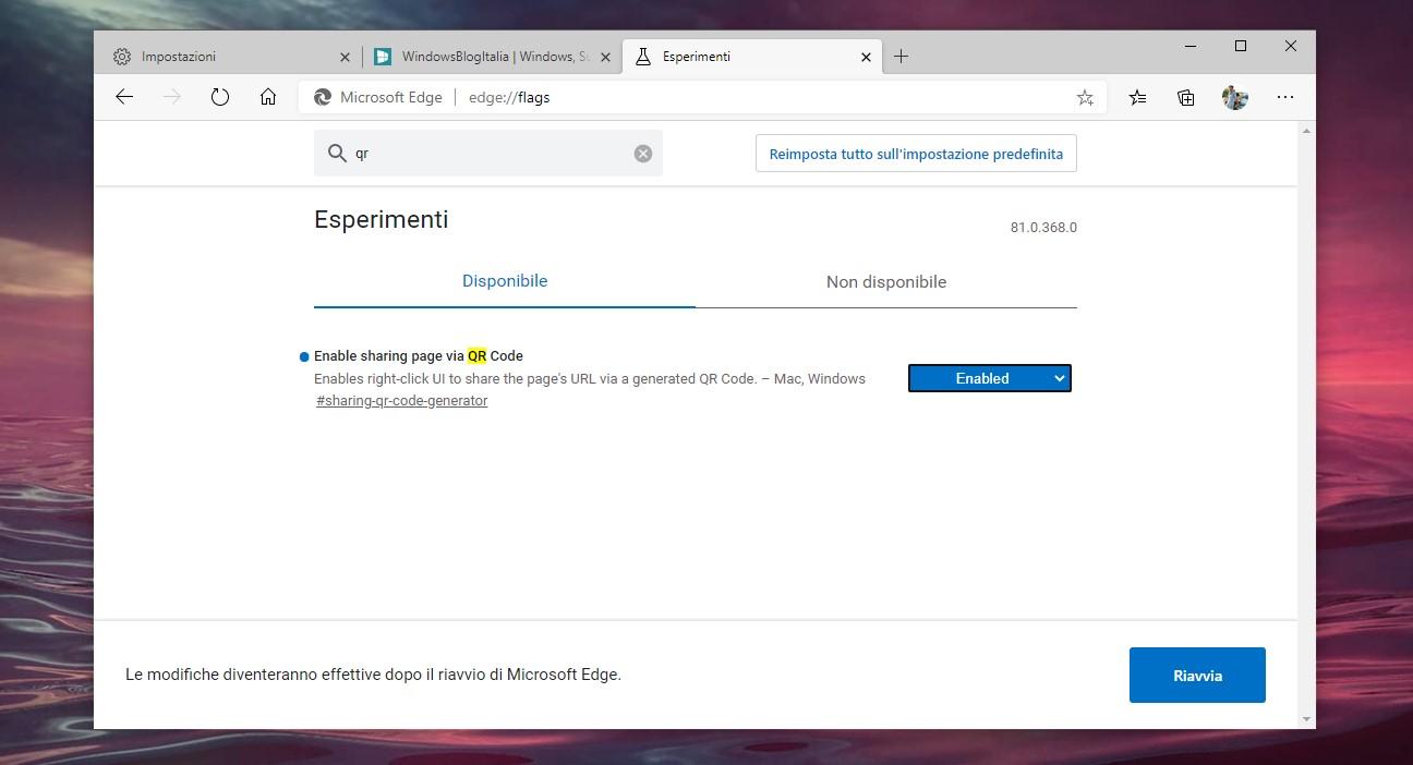 Microsoft Edge basato su Chromium flag per abilitare la condivisione dei siti tramite QRCode