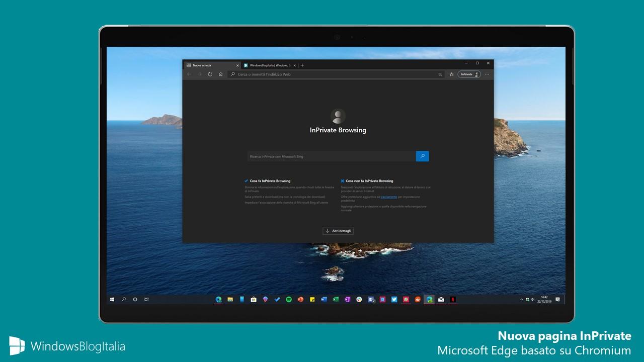 Nuova pagina InPrivate Microsoft Edge
