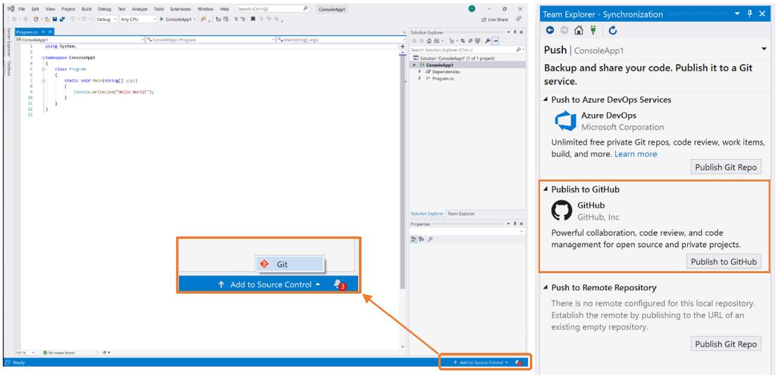 Integrazione Microsoft Visual Studio GitHub
