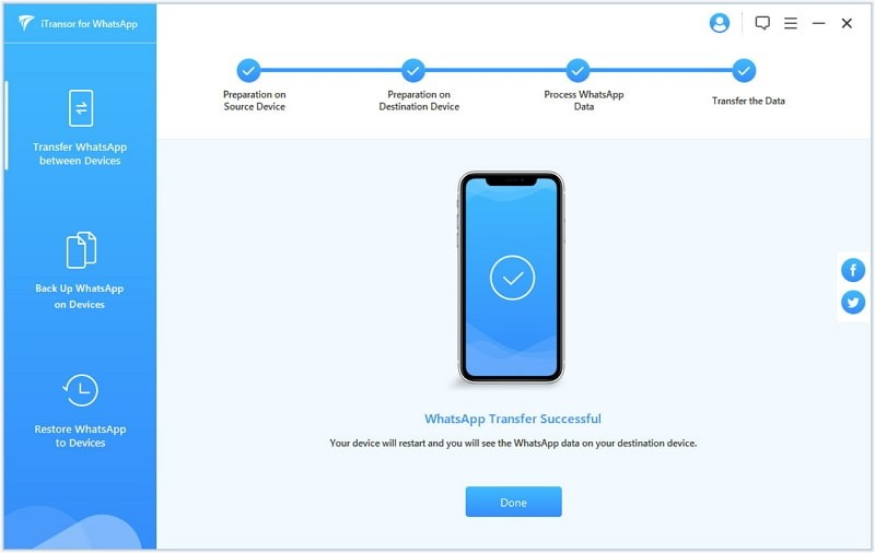 iMyFone iTransor for WhatsApp trasferimento chat di WhatsApp da Android ad iPhone