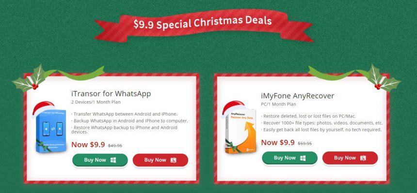 iMyFone offerta di Natale 2019 su iTransor for WhatsApp e AnyRecover
