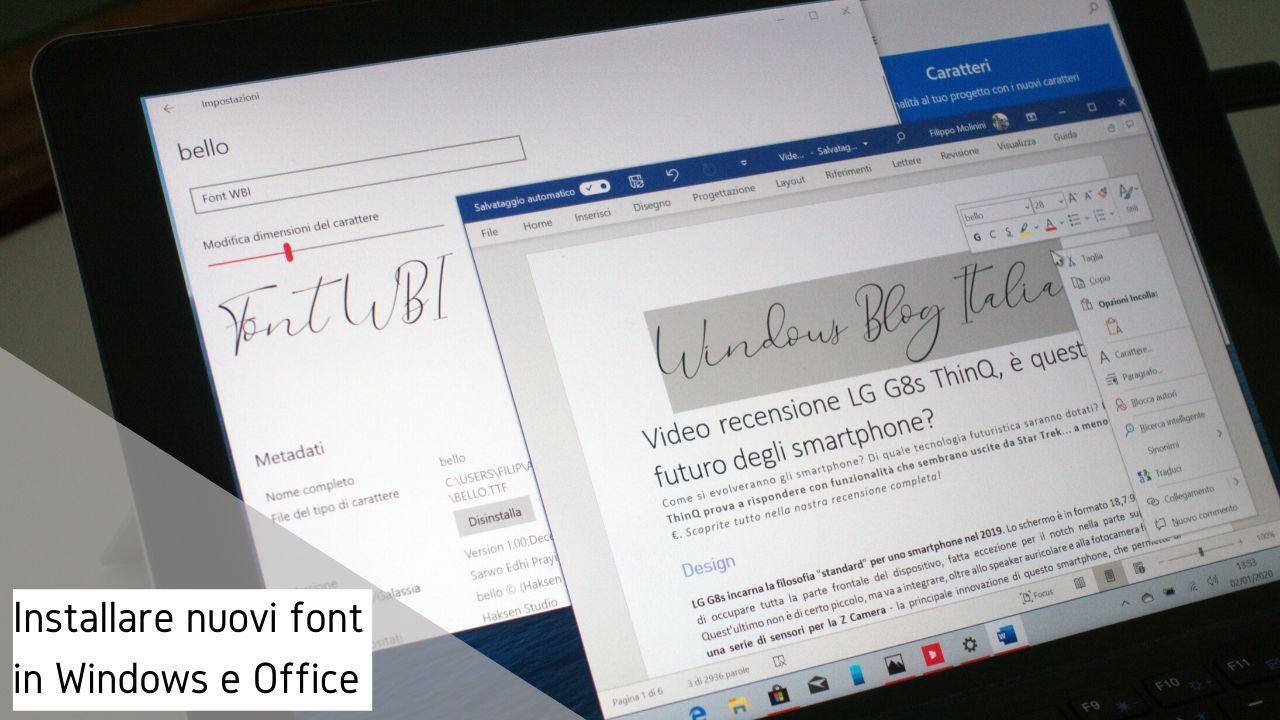 Come installare nuovi font in Windows 10 e Microsoft Office