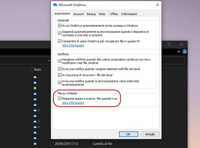 File su richiesta di OneDrive
