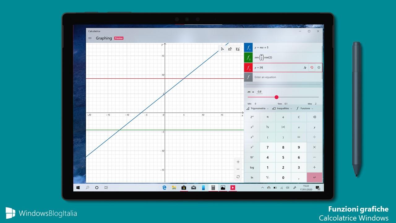 Funzioni grafiche Calcolatrice Windows