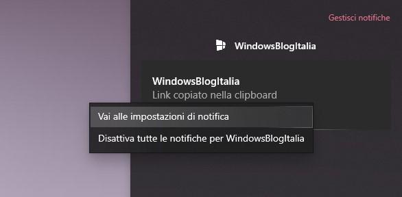 Gestione delle notifiche ricevute in Windows 10